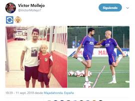 Mollejo a partagé une photo avec Diego Costa. twitter/VictorMollejo7
