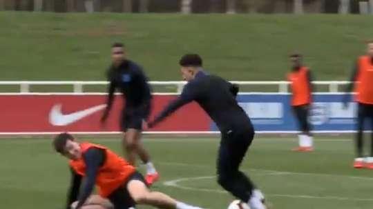 Vidéo de Jadon Sancho et Harry Maguire en sélection. Capture/Twitter/DaviddeCorran