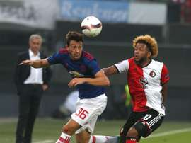 Vilhena (R) scored the all important goal to defeat United. ManUtd