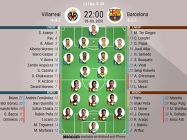 Villarreal v Barcelona, La Liga 2019/20, 5/07/2020, matchday 34 - Official line-ups. BESOCCER