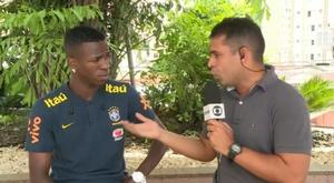 Vinicius, feliz como madridista. Captura/SporTV