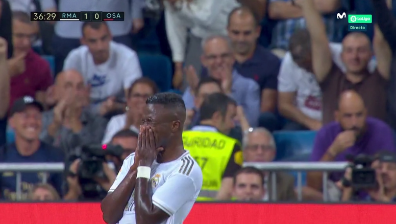 Vinicius lloró tras su gol. Captura/Movistar+LaLiga