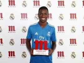 Vinicius, meilleur joueur du Real Madrid en février. FútbolMahou