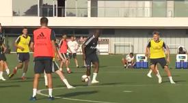 Vinicius já treina com o Real Madrid. Captura/RealMadrid