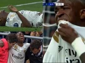 Vinicius se machuca e chora muito. Capturas/Movistar