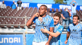 Vinícius Tanque marcó el gol del empate. Twitter/atleticbalears
