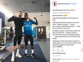 Vinicius e Benzema treinaram no ginásio. Instagram/KarimBenzema