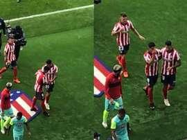 Vitolo enseñó a Suárez que el escudo del Atlético nunca debe pisarse. Twitter/sidlowe