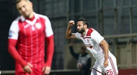 El gol de Vukovic fue insuficiente. Twitter/olympiacos_org