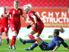 Wales ladies during a match against France ladies. WalesFC
