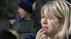 Wanda Nara no pudo contener el llanto. Captura/Fox Sports y GazzettaTV