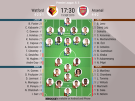 Watford v Arsenal, Premier League 2019/20, 15/9/2019, matchday 4 - Official line-ups. BESOCCER