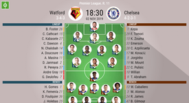 Watford v Chelsea Premier League 2019/20, matchday 11 29/10/2019 - official line.ups. BESOCCER