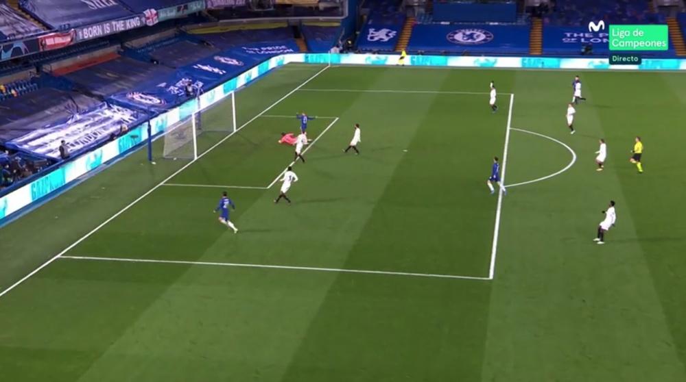 Para una vez que acertaba Werner con el gol... ¡se lo anularon! Captura/MovistarLigadeCampeones