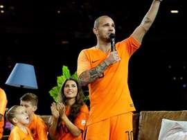 Wesley Sneijder, em sua despedida da Seleção Holandesa. OnsOrange