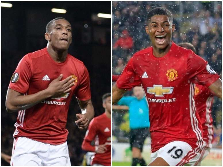West Ham are looking to bring in either Martial (L) or Rashford (R) on loan. BeSoccer