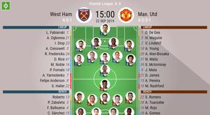 West Ham v Man Utd, Premier League 2019/20, matchday 6, 22/9/2019 - Official line-ups. BESOCCER