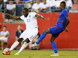 Wilde-Donald Guerrier 7 of Haiti defends Jozy Altidore 17 of United States during the 2015 CONCACAF Gold Cup Group A match on July 10, 2015 in Foxboro, Massachusetts