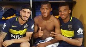 El centrocampista se enfundó por primera vez de forma oficial la elástica de Boca. WilmarBarrios