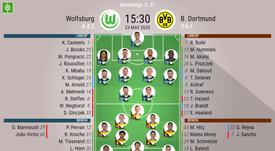 Wolfsburg v Dortmund, Matchday 27, Bundesliga 19/20, 23/05/2020 - official line-ups. BeSoccer