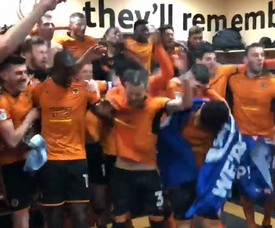 Wolves celebrated their Premier League promotion. Screenshot