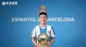 Wu Lei conquista el Balón de Oro chino por segundo año seguido. Twitter/RCDEspanyol
