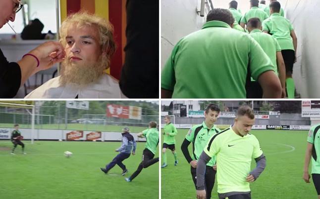 Xherdan Shaqiri, jugador del Inter, se disfrazó de anciano y bromeó con los jugadores del Kriens. Sport