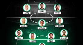 Esta é a seleção do primeiro turno do Campeonato Espanhol. ProFootballDB