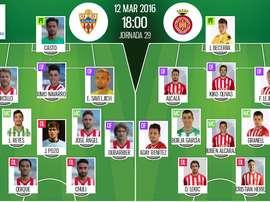 Ya tenemos las alineaciones del Almería - Girona, partido correspondiente a la jornada 29 de la Liga Adelante.
