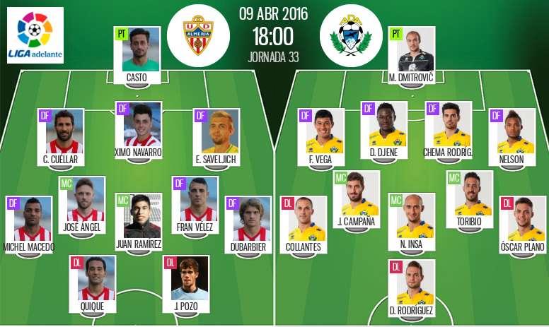 Ya tenemos las alineaciones del Almería-Alcorcón, partido correspondiente a la jornada 33 de la Liga Adelante. BeSoccer