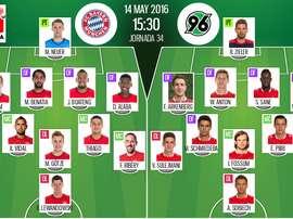 Ya tenemos las alineaciones del Bayern de Múnich-Hannover, partido correspondiente a la jornada 34 de la Bundesliga. BeSoccer
