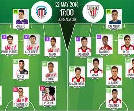 Ya tenemos las alineaciones del Lugo-Bilbao Athletic, partido correspondiente a la jornada 39 de la Liga Adelante. BeSoccer