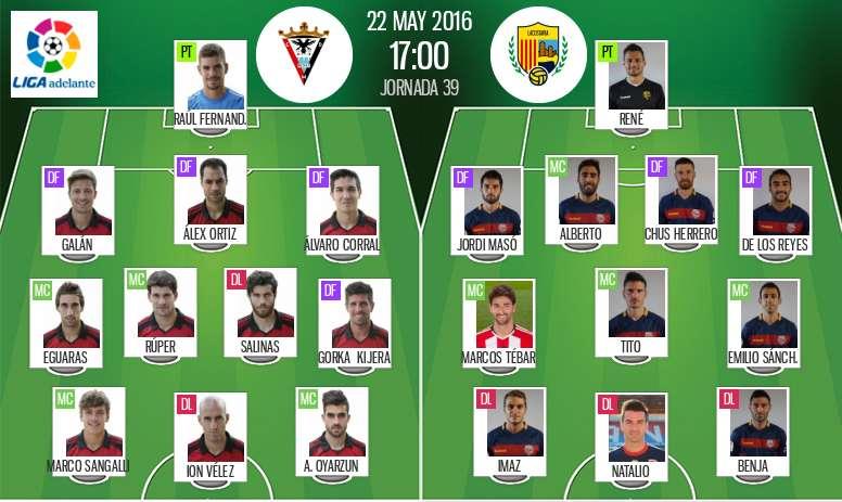 Ya tenemos las alineaciones del Mirandés-Llagostera, partido correspondiente a la jornada 39 de la Liga Adelante. BeSoccer