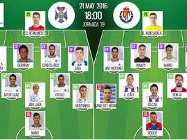 Ya tenemos las alineaciones del Tenerife-Valladolid, partido correspondiente a la jornada 39 de la Liga Adelante. BeSoccer