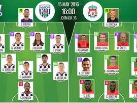 Ya tenemos las alineaciones del WBA-Liverpool, partido correspondiente a la jornada 38 de la Premier League. BeSoccer