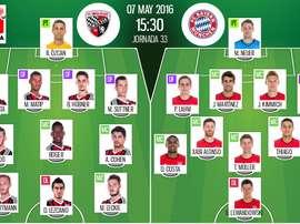 Ya tenemos los onces del Ingolstadt-Bayern de Múnich, partido correspondiente a la jornada 33 de la Bundesliga. BeSoccer