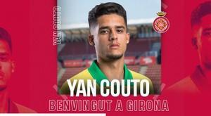 Yan Couto, reforço do Girona para a temporada 2020-21. Twitter/GironaFC