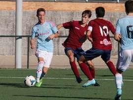 Yelko Pino disputa un partido con el filial del Celta. Twitter
