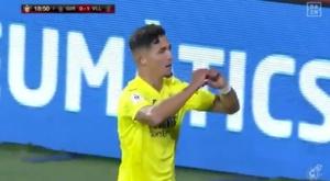 El Villarreal sufrió y ganó por la mínima al Girona. Captura/DAZN