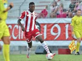 Zakaria Diallo pendant un match avec l'AC Ajaccio en Ligue 2. ACAjaccio