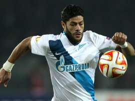 Zenit Brazilian forward Hulk eyes the ball on March 19, 2015