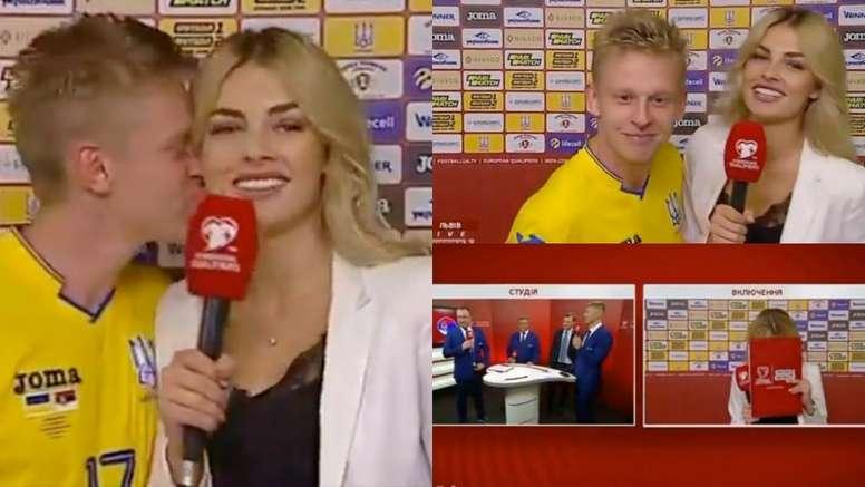 Zinchenko made the journalist blush with a heartfelt kiss on air. Captura/SportsBoxing