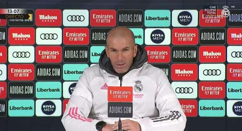 Zidane acaba de falar em coletiva de imprensa. Captura/RealMadridTV