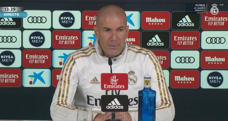 Zinedine Zidane spoke to the press ahead of Real Madrid's LaLiga clash. Screenshot/RealMadridTV