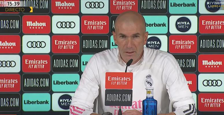 Zinedine Zidane, en rueda de prensa antes del partido contra el Villarreal. Captura/RealMadrid