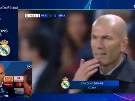 Zinedine Zidane avaliou a derrota por 3 a 0 na estreia da Champions League. Captura/Movistar