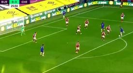 Ziyech, primera titularidad y primer gol en Premier. Captura/DAZN