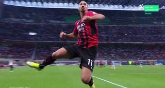 Ibra marcó para el Milan nada más volver. Captura/MovistarLigadeCampeones