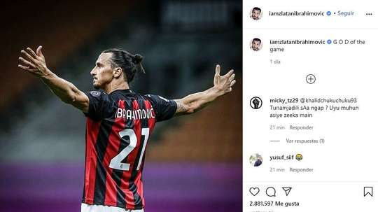 Ibra boasted about his performance. Instagram/iamzlatanibrahimovic