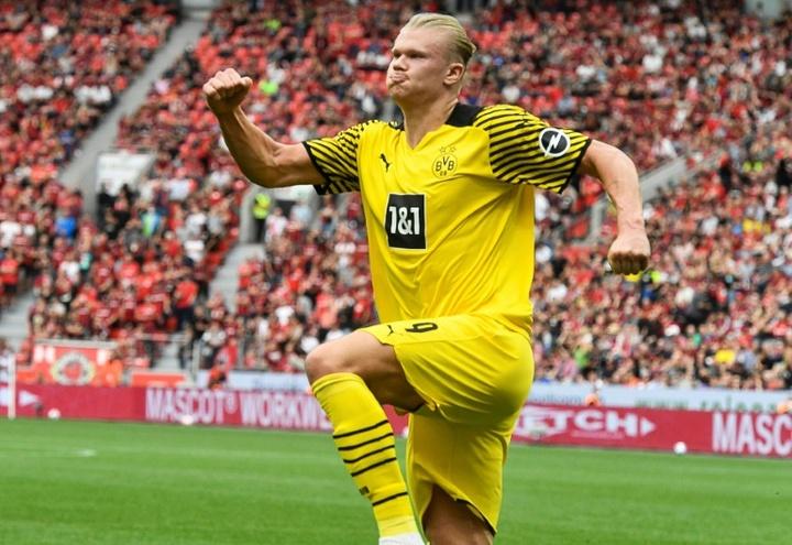 Haaland gets the three points for Dortmund against Leverkusen. AFP
